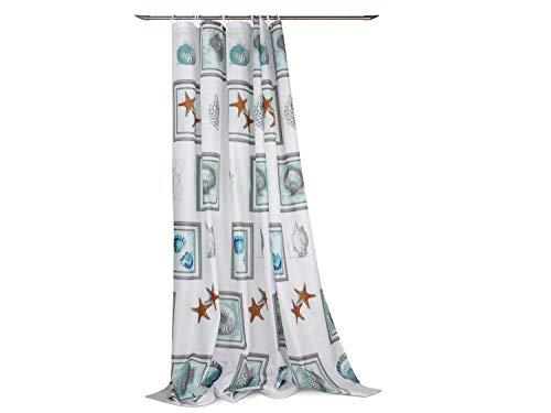 npluseins wasserabweisender Duschvorhang in 12 verschiedenen Dessins – ca. 180 x 200 cm, Seastar