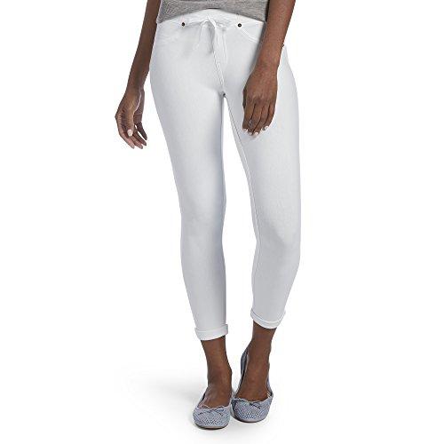 Hue Women's Sweatshirt Denim Cuffed Capri Leggings, white, M
