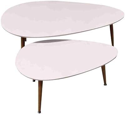 ZONS Fly Lot de 2 Tables Basses Gigogne Blanche Au Style Scandinave avec Pieds en Bois