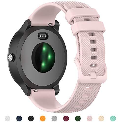 Tosenpo Armband für Garmin Vivoactive 3,20mm Premium Silikon QuickFit Armbänder für Garmin Vivoactive 3/ Vivoactive 3 Music/Forerunner 245/645 Music (Rosa)