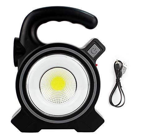 Foco De Trabajo 2 Luz Blanca LED Potente Solar Micro USB Portátil Ligero IP65 Impermeable Con Mango Transporte (17x13x4cm) Negro [Clase de eficiencia energética A++]