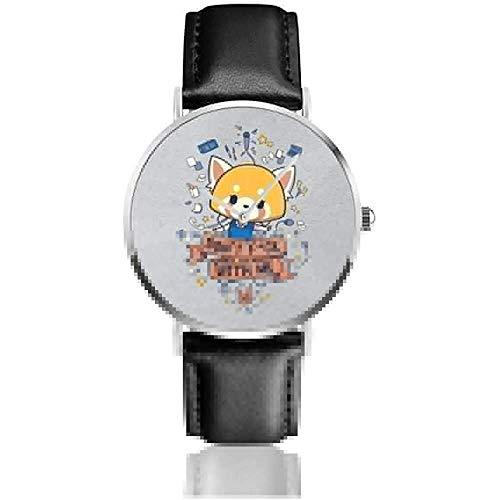 Nicht FCK mit Mir Aggretsuko Uhren Quarz Lederuhr mit schwarzem Lederband für Sammlung Geschenk