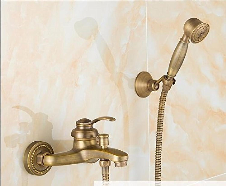 KHSKX Full of copper antique shower, antique shower set, European phone shower, retro brief shower,G