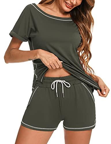 Doaraha Traje Corto Casual de Mujer, Conjunto de Chándal Mujer, Conjuntos Deportivos Cortos de Dos Piezas Mujer para Verano, Completos de Camiseta y Pantalón Corto Mujer
