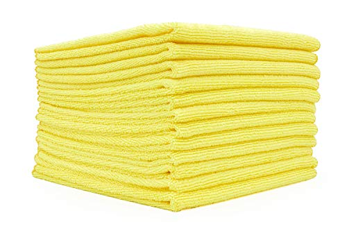 The Rag Company - All-Purpose Microfiber Terry Cleaning Towels - Commercial Grade, Highly Absorbent, Lint-Free, Streak-Free, Kitchens, Bathrooms, Offices, 300gsm, 16in x 16in, Yellow (12-Pack)
