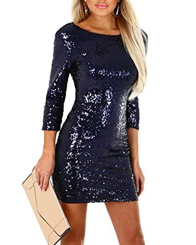 YOINS Damen Abendkleid Sexy Kleider Pailletten Kleid Glänzend Langarm Rundhals Cocktailkleid Bleistiftkleid Dunkelblau EU44