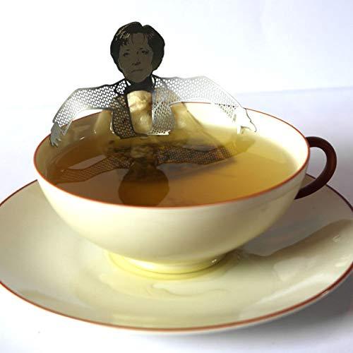 13gramm Angela Merkel Teebeutel-Halter Souvenir Geschenk, 3D Edelstahl Figur zum Tee Trinken