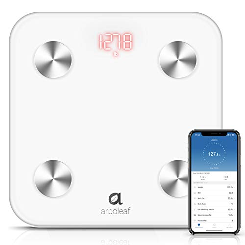 Arboleaf Body Fat Scale Digital Scale WiFi and Bluetooth Smart Scale Bathroom Weight Scale BMI Scale 14 Body Composition with Smartphone App Unlimited Users Auto Recognition