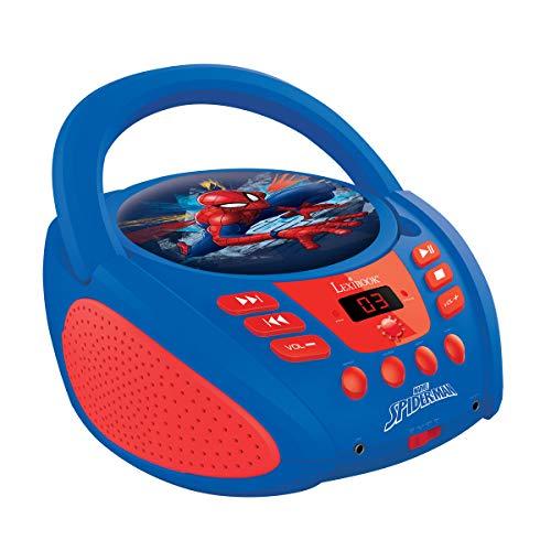 Lexibook Marvel Spider-Man Peter Parker Boombox CD-Player, AUX-Eingangsbuchse, AC-Betrieb oder Batterie,Blau/Rot, RCD108SP_10