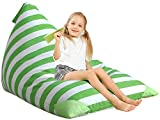Aubliss Stuffed Animal Storage Bean Bag Chair Cover for Kids, Girls and Adults, Beanbag Cover Only, 23 Inch Long YKK Zipper, Premium Cotton Canvas, Xmas Gift Ideas(Green Stripe)