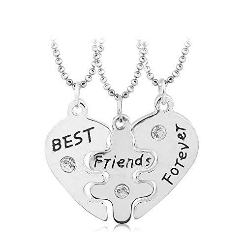 Mingjun 3 Piece Set Heart Pendant BFF Necklace Best Friends Forever Pendant...
