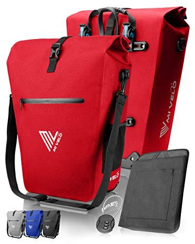 MIVELO Fahrradtasche Gepäckträgertasche wasserdicht 100% PVC frei + Laptopfach + Schloss + Schultergurt – Fahrrad Tasche für Gepäckträger 1 STK (Rot, 25L)