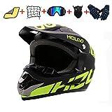 Motorcycle Helmet DOT Approved Bike Snowmobile Helmet for Adults Off-Road MTB Full Face Helmet Gloves Goggles Mask Helmet Net Towels,Black (Small)