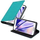 Cadorabo Hülle für Samsung Galaxy S5 Mini / S5 Mini DUOS in Petrol TÜRKIS - Handyhülle mit Magnetverschluss, Standfunktion & Kartenfach - Hülle Cover Schutzhülle Etui Tasche Book Klapp Style
