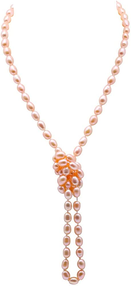 JYX Pearl Long Necklace Classical 7-8mm Oval Freshwater Pearl Sweater Necklace 32