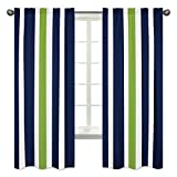 Navy Blue, Lime Green and White Window Treatment Panels...