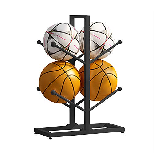 Fitlyiee 2-Layer Double-Sided Basketball Organizers Metal Ball Storage Rack Sports Storage for Indoor Outdoor (Black)