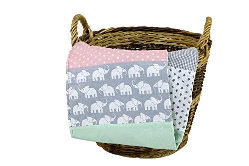ULLENBOOM ® Babydecke 70x100 cm Elefant Mint Rosa (Made in EU) - Baby Kuscheldecke aus ÖkoTex Baumwolle & Fleece, ideal als Kinderwagendecke oder Spieldecke geeignet, Design:Sterne, Patchwork