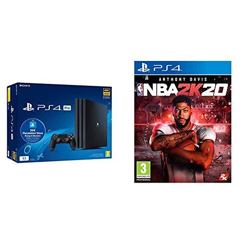 Sony Playstation 4 Pro (PS4) Consola de 1TB + 20 euros Tarjeta Prepago (Edición Exclusiva Amazon) - nuevo chasis G + NBA 2k20