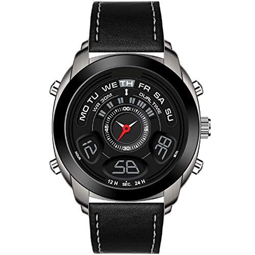 REIUYTHO Reloj Digital de los Relojes for los Hombres, Cuero clásico de la Correa de Reloj Deportivo Digital de Pantalla a Prueba de Agua Casual Cronómetro Alarma Luminosa Simple Reloj del ejército