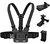 Camera Chest Mount Strap Harness for GoPro AKASO DJI Osmo, Niewalda Adjustable Cell Phone Chest Mount Strap with Sports Camera Installation Bracket kit+Mobile Phone Bracket+Backpack Clip Holder