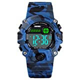 Boys Camouflage LED Sports Kids Watch Waterproof Digital Electronic Military Wrist Watches for Kids with Silicone Band Alarm Stopwatch Watches Age 5-10
