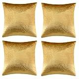 GIGIZAZA Gold Kissenbezug 45x45 cm Samt Kissenbezüge 4er Pack Kissenhülle Dekokissen für Sofa Wohnzimmer Schlafzimmer