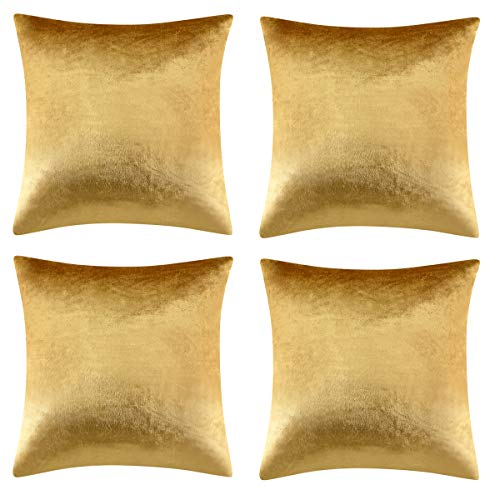 Gigizaza Velvet Gold Cushion Covers 18 x 18 Square Soft Decorative Throw Couch Pillow Covers Cases 45x45cm for Sofa Bedroom Living room,Set of 4