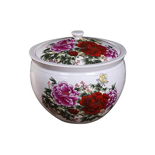 XYZMDJ Hoja de té de cerámica de Almacenamiento de arroz tarros de almacenaje casera Cocina Organización Harina Tanque de Almacenamiento de cerámica Jar Cubierta Rice