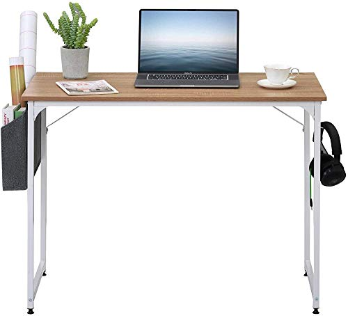 MUY Mesa de escritorio para estudiante, mesa de estudio, escritorio de escritorio, mesa de ordenador portátil, para espacios pequeños, oficina o trabajo (roble)