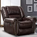 CANMOV Recliner Chair Breathable Bonded Leather, Classic and Traditional Manual Recliner Chair with Arms and Back Single Sofa for Living Room, Brown
