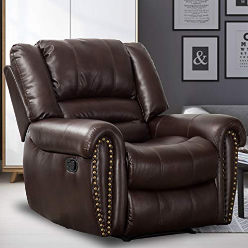 CANMOV Recliner Chair Breathable PU Leather, Classic and Traditional Manual Recliner Chair...