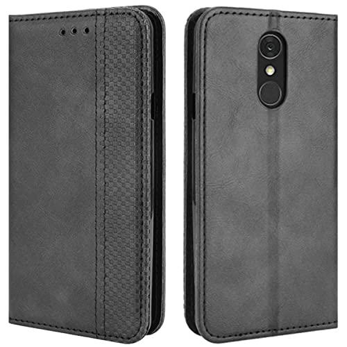 HualuBro Handyhülle für LG Q7 Hülle, LG Q7 Plus Hülle Leder, Magnetisch Stoßfest Schutzhülle Klapphülle Handytasche Flip Hülle Cover für LG Q7 / LG Q7+ Plus Tasche, Schwarz