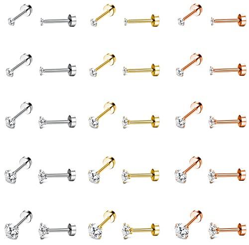 CASSIECA 15 pares de aretes de cartílago para mujer y hombre, de acero inoxidable, con tuerca plana de 2 a 6 mm, color plateado y dorado