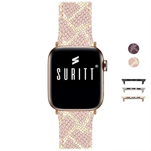 Suritt ® Correa para Apple Watch de Piel Paris 3 Colores de Hebilla y Adaptador para Elegir (Negro - Plata - Oro)(Series 2, 3, 4 y 5). (38mm / 40mm, Pink/Gold)