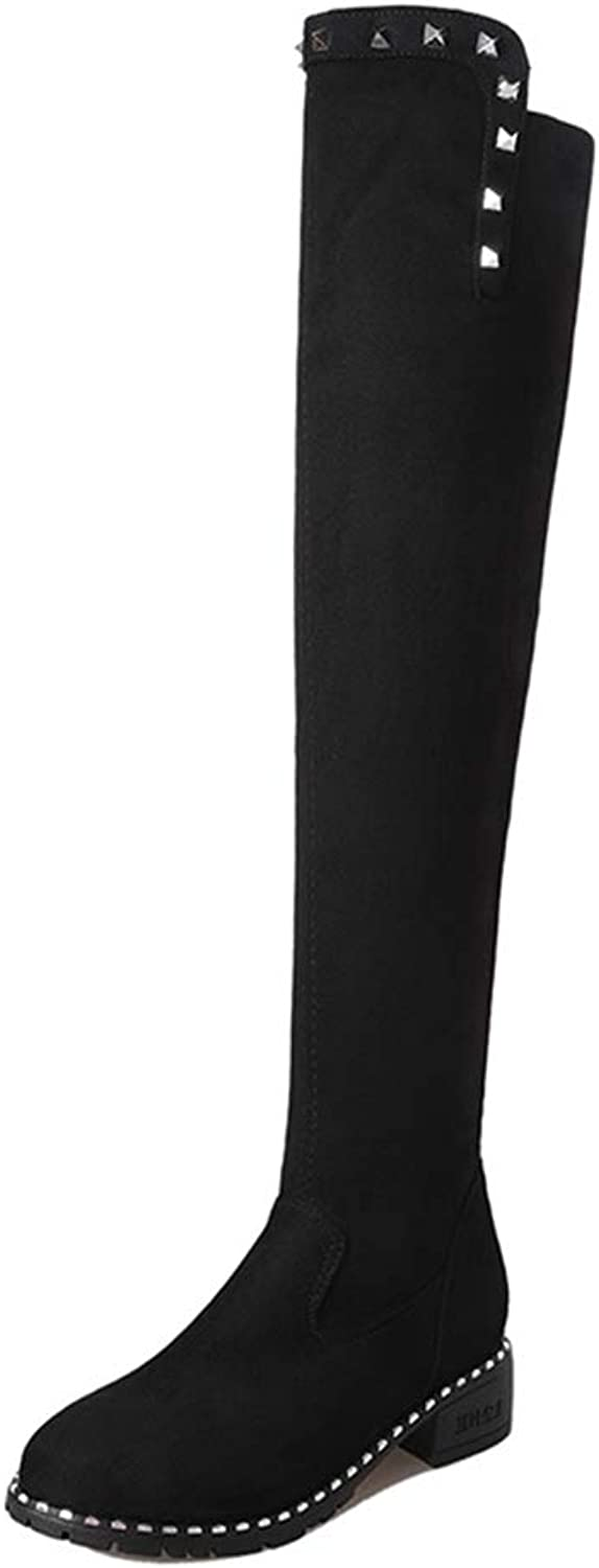 Hoxekle Winter Faux Leather Over The Knee Boots Women Sequin Toe Elastic Stretch Thick Heels Thigh High Riding Boots