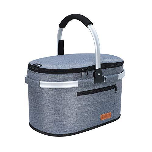 Liqing 32L Premium Kühltasche Picknicktasche Groß Faltbar Isoliertasche Picknickkorb Thermo Tasche Kühlkorb für Lunch Camping Reisen Einkauf (Dunkel Grau)