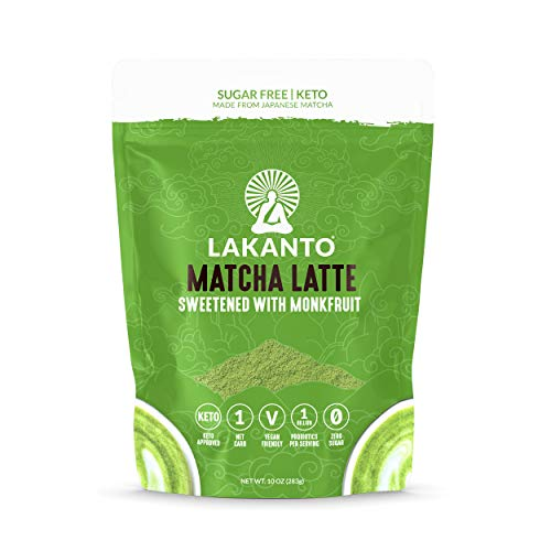 Lakanto Sugar Free Matcha Latte - Green Tea Powder Shelf Stable Probiotics and Fiber, Sugar Free, Monkfruit Sweetener, Keto Diet Friendly, Vegan, Detox and Destress, Antioxidants, Authentic (10 Oz)