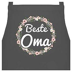Schürze mit Motiv - Beste Oma Blumenkranz - 60 x 87 cm (B x H) - Anthrazit - beste oma kochschürze - PW102 - Kochschürze für Männer und Damen