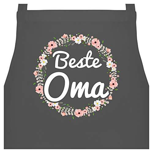 Schürze mit Motiv - Beste Oma Blumenkranz - 60 x 87 cm (B x H) - Anthrazit - kochschürze damen beste oma - PW102 - Kochschürze für Männer und Damen