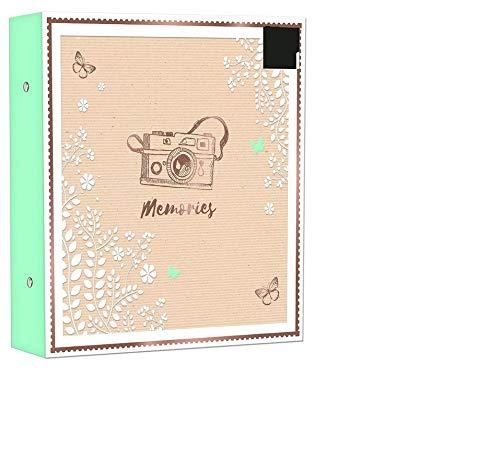 Fotoalbum, großes Ringbuch, für 500 Fotos zu 10 cm x 15 cm, schönes Design mit Goldfolie mit abziehbaren Stickern