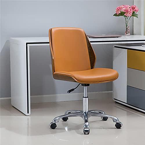 Höhenverstellbare Arbeitsstuhl Modern Bentwood Bürostuhl Sitz mit Multi-Richtungsrädern armlose Computerstuhlmöbel-B.