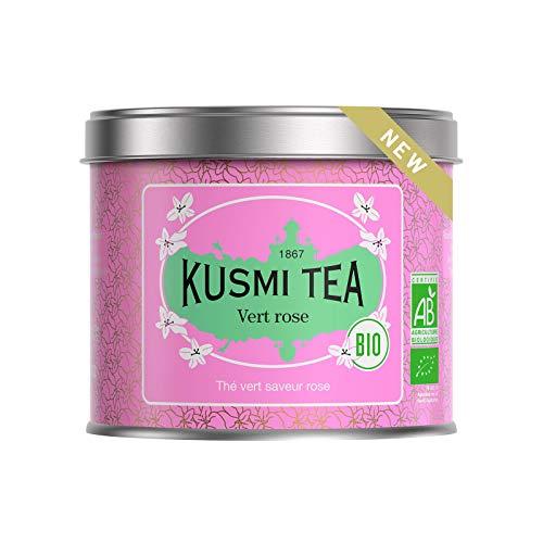 Kusmi Tea - Thé vert bio saveur rose - Boîte thé métal 100 g - Environ 40 tasses
