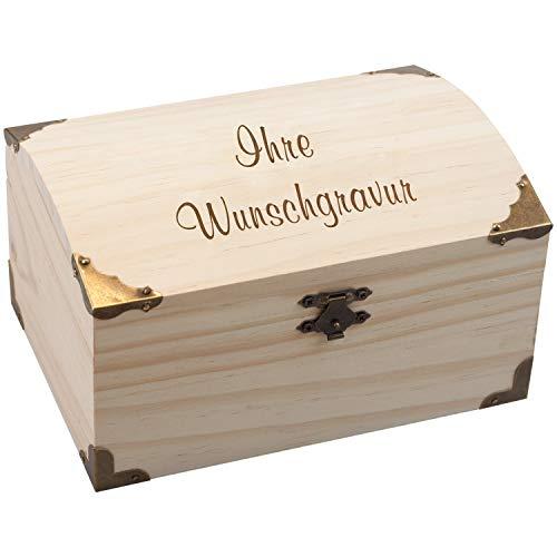 Geschenke 24 Schatzkiste – mit Wunschtext Aufbewahrungsbox aus Holz für Andenken, Souvenirs, Fotos, Postkarten – gravierte Holz Schatztruhe mit Namen 18er
