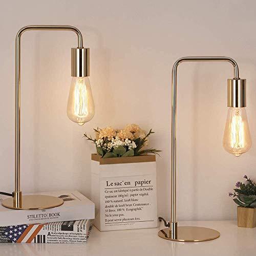 Lámparas de mesa industriales, 2 unidades, modernas lámparas de noche para mesita de noche, dormitorio, oficina, dormitorio - dorado