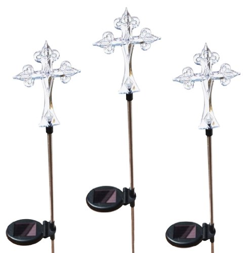 Solar Cross Lights, 3 Stakes a set