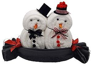 Frotteebox Geschenk Set Schneemann Paar groß in Handarbeit geformt aus 3X Handtuch weiß/anthrazit