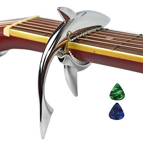 Imelod Guitarra de aleación de zinc Cejilla Shark Cejilla para guitarra acústica y eléctrica con buena sensación de la mano, sin traste y duradero(Plateado)
