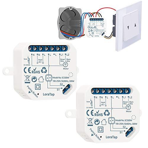 LoraTap 2 Interrupteur Module Volet Roulant Connecté, Commutateur Rideau Stores WiFi, Compatible avec Alexa Google Home pour Commande Vocale, Minuterie Intelligent Moteur Mural