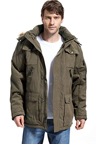 Yozai Mens Winter Parka Insulated Warm Jacket Military Coat Faux Fur with Pockets and Detachable Fur Hood 370 Olive Green X-Large